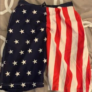 Men's medium red white and blue bathing suit